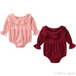 $enCountryForm.capitalKeyWord Australia - INS New Baby Infant Girls Rompers Ruffles Turn-down Collar Puff Long Sleeve Blank Pink Red Cotton Fabric Newborn Girls Jumpsuits 0-24M