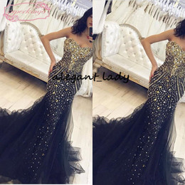 Chiffon prom dress sweetheart neCkline online shopping - 2019 Mermaid Evening Dresses Black Tulle Sweetheart Neckline sparkly Beaidng Crystal Sexy Luxury Floor Length prom pageant Gowns