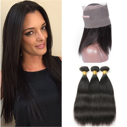 $enCountryForm.capitalKeyWord Australia - Silky Straight Indian Virgin Human Hair Bundles Deals 3Pcs with 360 Full Frontals Pre Plucked 360 Band Lace Frontal Closure with Weaves