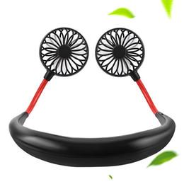 $enCountryForm.capitalKeyWord Australia - Fan Mini Portable USB 1200mAh Rechargeable Neckband Lazy Neck Hanging Style Dual Cooling Fans Gadget Inteligente Novel