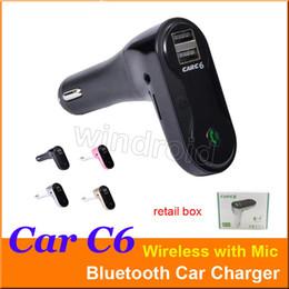 Kit Car Box Australia - Cheapest CAR C6 Multifunction Bluetooth Transmitter 2.1A Dual USB Car charger FM MP3 Player Car Kit Support TF Card Handsfree + retail box