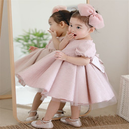 Discount tulle ball gown layered wedding dresses - Baby Girl Wedding Gown Bebes Clothing layered Tulle 1 Year Birthday Toddler Infant Party Dress Newborn Baptism Christeni