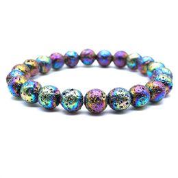 Reiki Healing Wholesalers Australia - 8mm Chromatic Plating Lava Stone Healing Balance Beads Reiki Buddha Prayer Essential Oil Diffuser Bracelet Jewelry