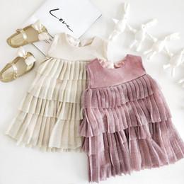 $enCountryForm.capitalKeyWord Australia - Summer Korean Style Girls Mesh Layered Dress 2019 Kids Cotton Sleeveless Cute All-match Princess Dress 0-5y MX190724