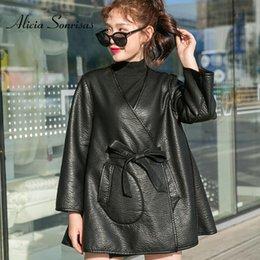 Leather Parka Australia - 2019 New Leather Jacket Women Double Face Use Autumn Winter Parkas Black Faux Sheepskin Coats With Belt Loose Jackets BE077
