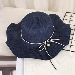 $enCountryForm.capitalKeyWord Australia - Summer Fashion Bow Pearl Hat Outdoor Straw Sun Hat for Women Elegant Fashion Beach Wide Brim Hats