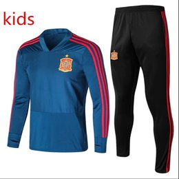 Spain Soccer team online shopping - Top quality Spain kids Training suit Spain world cup national team Ramos Isco Silva Fabregas CHANDAL kids football TRACKSUIT