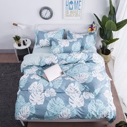 $enCountryForm.capitalKeyWord Australia - New Nordic Style Blue Banana Leaf Bedding Set Adult Kids Bed Set 4pcs Duvet Cover Flat Sheet Pillowcases Twin Full Queen King