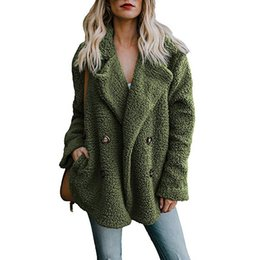 Moss Green Winter Fleece Long Coat Donna oversize maglione bavero doppio petto trench allentato in pelliccia sintetica tuta sportiva 3xl plus size