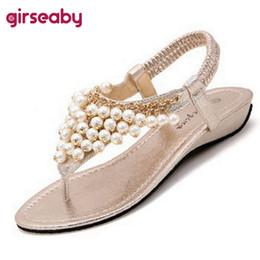 960602d7fc88 Girseaby Ethnic style flat sandals Women ladies summer beach sandals sweet  pearls flip flops ankle strap shoes black size35 40
