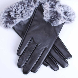 white leather mittens UK - The new women Sheepskin leather bright gloves female winter warm fashion Windproof Antifreeze gloves Outdoor sport warm Winter Gloves U G