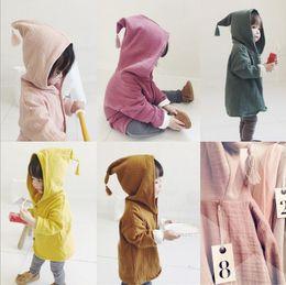 $enCountryForm.capitalKeyWord Australia - Ins Baby Boys Girls Cotton Hooded Cardigans Children Solid Color Loose Coat Jacket Outwear Kids Clothing wear