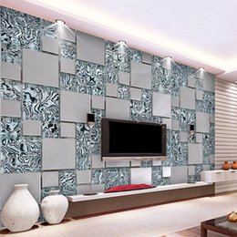 mosaic house NZ - Bacal Custom photo wallpaper 3D stereoscopic mosaic cubes nonwoven fabric mural painting living room TV wallpaper 3D mural