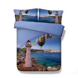 Print Duvet NZ - 3 Piece Hot Air Balloon Bedding Set With 2 Pillow Shams 3D Print Sea Inspired Blue Ocean Lighthouse Duvet Cover Set Beach Island Seascape