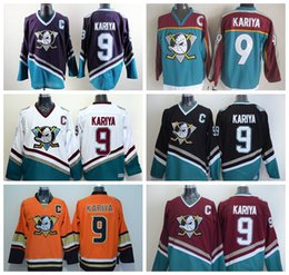 mighty ducks movie jersey white Canada - Movie Green 1993 Vintage 9 Paul Kariya Anaheim Mighty Ducks Jerseys Black White Purple Red Home Away All Stitched Top Quality On Sale