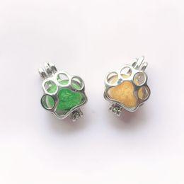 $enCountryForm.capitalKeyWord Australia - 10pc hollow cage animal paw plum blossom beads box diffuser necklace Locket pendant DIY perfume essential oil jewelry found
