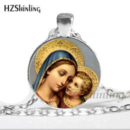 Vintage Glass Domes Necklace Australia - 2019 New Fashion Mary Mother of Baby Necklace Blessed Virgin Pendant Jewelry Glass Dome Necklace Vintage HZ1
