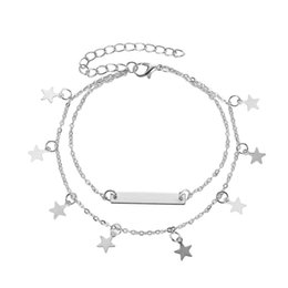 Star legS online shopping - Fashion Double Chain Stainless Steel Ankle Bracelet for Women Star Leg silver color Chain Tassel Anklet Vintage Foot Accessories