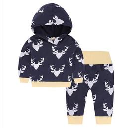 c44bbaeb3 Ropa infantil Juegos de ropa para bebés Niños bebés Ciervos de navidad  Sudadera con capucha Tops Pantalones largos 2 piezas Trajes Ropa Conjunto