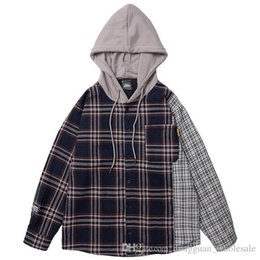Wholesale vintage hip hop hoodie online – oversize 2019 Men Hip Hop Hooded Jacket Vintage Plaid Patchowrk Harajuku Jacket Hoodie Color Block Streetwear Jackets Retro Style Autumn