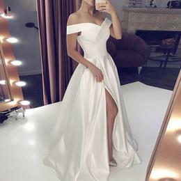 Off shOulder neckline yellOw dress online shopping - Simple Cheap Prom Dresses Off The Shoulder Neckline Front Split Dresses Evening Wear A Ling Sweep Train Bridal Guest Gowns