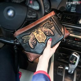 Discount coolest phone holders - Factory wholesale men handbag street cool embroidery hand clutch bag fashion contrast leather mobile phone bag fashion m