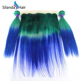 $enCountryForm.capitalKeyWord NZ - Silanda Hair Popular Ombre Green Blue Straight Brazilian Remy Human Hair Weaves 3 Weaving Bundles With 13X4 Lace Frontals Free Shipping