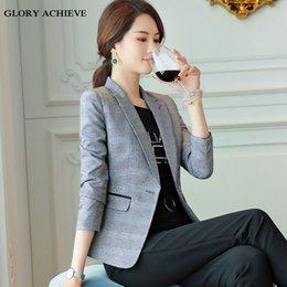 swallow coat 2019 - Women elegant Plaid Jacket Long sleeve Swallow Gird Blazer Fashion Work Wear slim Office Lady Coat Outwear plus size 4XL