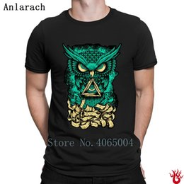 Illuminati Owl Tshirts Printed Breathable Sunlight 100% Cotton Men T Shirt Summer Letters Family Hiphop O Neck