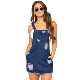 ebc4f537e73 Sexy Women Summer Denim Dress Female Sundress Hole Casual Loose Suspender  Dress Solid Adjustable Strap Jeans Dress Black Blue