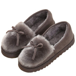 1ef94cbef4072 2018 Winter Women Fur Lined Home Slippers Ladies Female Outdoor Indoor Plush  Cosy Warm House Shoes Gray Black