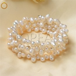 natural white freshwater cultured pearls triple strand bracelets bridal wedding women fine jewelry gift new design on Sale