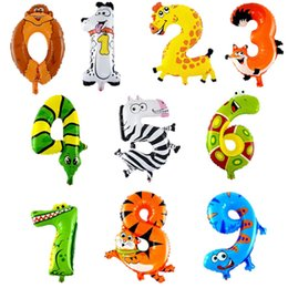 Discount numbers cartoon - 16inches Animal ballons Number Foil Balloons cartoon Wedding Inflatable Birthday Decora Air Balloons Child Party figures
