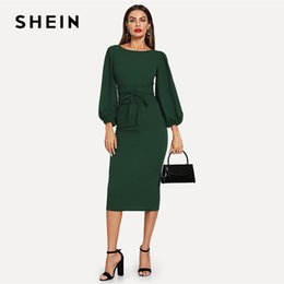0e2daa5fe76 Shein Green Tie Waist Lantern Sleeve Dress Elegant Party Boat Neck Pencil  Dresses Women Zipper Knot Sheath Autumn Dress Y190425