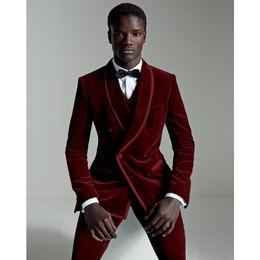 Discount wedding burgundy gold suits black men - Elegant Burgundy Velour Slim Fit Men Suit 2017 Best Man Groom Tuxedo Velvet Prom Wedding Suits Smart Casual (Jacket+Pant