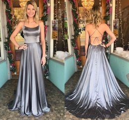 $enCountryForm.capitalKeyWord NZ - Scoop Neck Simple Grey Satin Prom Dresses with String Tie Back Sleeveless Backless Prom Gowns with Short Train Sexy Evening Gowns