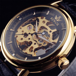 man wrist watch hand Australia - 2018 SEWOR Hollow Mechanical Hand-Wind Men Women Watches Classic Carving Skeleton Gold Dial Genuine Leather Strap Wrist
