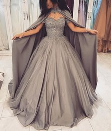 $enCountryForm.capitalKeyWord Australia - Long Evening Dress 2019 Puffy Ball Gown New Arrival Sweetheart Beaded Grey Women Prom Evening Gowns With Shawl