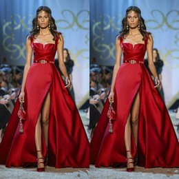 Special Occasion Dresses Elie Saab Australia - 2019 Newest Elie Saab Red Prom Dresses Spaghetti Straps A Line Thigh High Slits Sexy Evening Gowns Special Occasion Dresses Custom Made