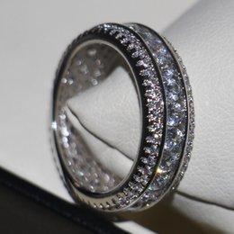 Sapphire Wedding Band Gold Australia - Wholesale Professional Luxury Jewelry 10KT White Gold Filled White Sapphire CZ Diamond Round Cut Pave Setting Party Wedding Band Ring Gift