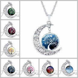 Discount party glasses chain - 24 styles Tree of Life pendant Moon necklaces Hollow Carved crescent cabochons Glass Moonstone Charm Choker chain For wo
