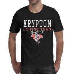 $enCountryForm.capitalKeyWord Australia - Superman Krypton Lifting Team logo black men's short sleeve t shirts customized t shirt cotton branded vintage men's Tops Pullover