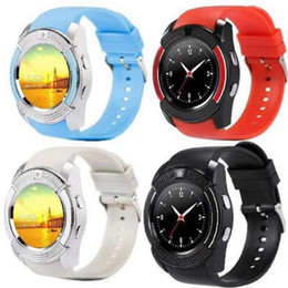 Black Card Circle Australia - V8 Smart Watch Bluetooth Watch Clock With Sim TF Card Slot Suitable For IOS Android Phone Smartwatch IPS HD Full Circle Display MTK6261D