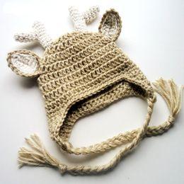 Reindeer Hats Australia - Handmade Knit Crochet Baby Moose Hat,Baby Boy Girl Christmas Reindeer Hat,Infant Earflap Animal Cap,Newborn Photo Prop