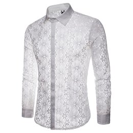 $enCountryForm.capitalKeyWord Canada - Vintage Floral Print Shirt Lace Sexy Casual Shirts Party New Arrival Cool Clothing Hollow Out Novelty Blouse Male Elegant Tops