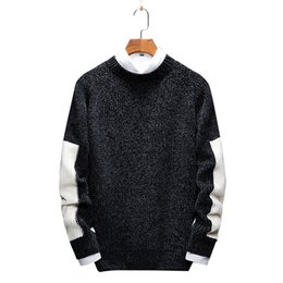 knitted pullover for men UK - 2019 New Japan Style Spring Autumn Mens Casual Sweater Pullovers Patchwork Black Gray Red Pink Purple Round Neck Sweater for Men