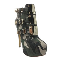 army cloths Australia - Hot Sale new big size women's fashion boots Army Green round toes gold platform high heels winter women Martin Boots ankle women shoes botas