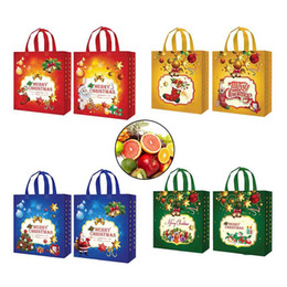Gift Woven Christmas Bags NZ - 8Pcs Nov-Woven Pattern Printed Christmas Holiday Gift Bags Durable Party Supplies XHC88