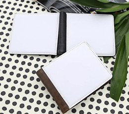 Großhandel Sublimation leerer PU doppelseitige faltbare Männer Kupplung Brieftasche Heißdruck Wärmeübertragung Drucken leere Geldbörse