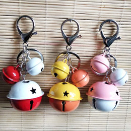Discount cute korean mobile phone - Cute Korean Version Creative Metal Candy Color Bell Keychain 4CM round bell mobile phone shell accessories gift Hanging